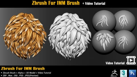 Zbrush Fur IMM Brush  + Video Tutorial