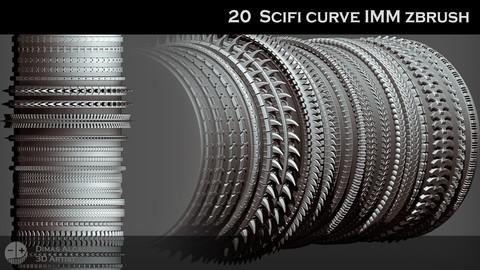 🌆🔫 20 Scifi / Cyberpunk IMM Curve Zbrush Brushes