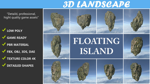 Low poly Mossy Floating Island Rock Pack