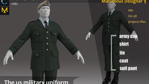 The US military uniform/outfit_Marvelous designer School uniform OBJ+FBX