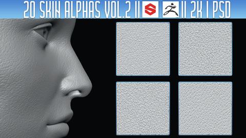 20 Skin Alphas Vol.2 (ZBRush, Substance, 2K, PSD)
