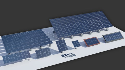 Solar Panels 3D Kit (.fbx - .obj - .blend)