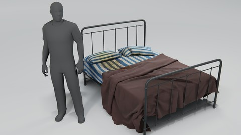 Stained Bed of the Sick Low-poly 3D model