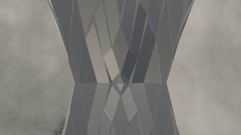 Silver Futuristic Cubic Structure Pillar