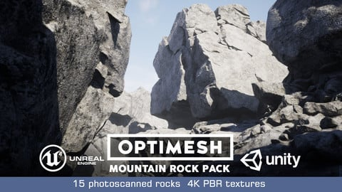 Mountain Rocks - 3D Models PBR Pack Low-poly