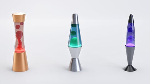 Set of Retro Lava Lamps - Decorative Interior Pack low-poly