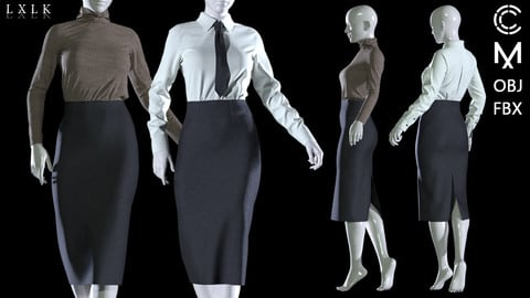 Women's formal, casual outfit with pencil skirt, tie, turtleneck knit - MD, Daz3d