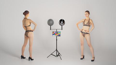 Beautiful woman in leopard swimsuit posing 237