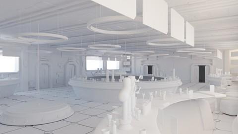 Cyberpunk SCI-FI Futuristic Bar 3D model