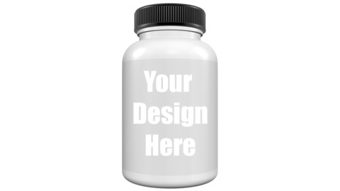 Realistic 3D Bottle Mock Up Template on White Background.3D Rendering,3D Illustration.Copy Space