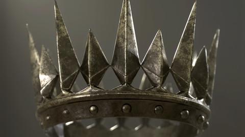 Old Medieval Dark Crown Low-poly 3D model