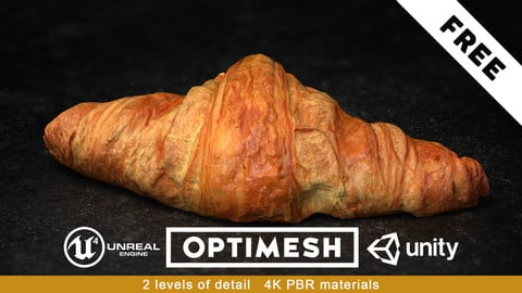 Croissant PBR 3D Pack Free low-poly 2/3