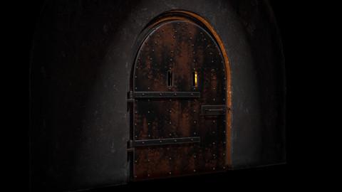 Old rusty door in dungeon