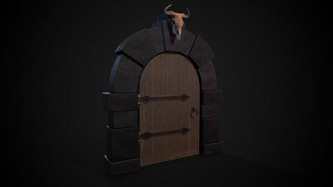 Dungeon door with bull skull