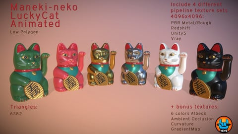 Maneki-neko - LowPolygon LuckyCat animated