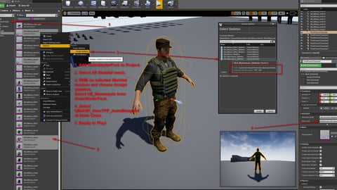 UE4 Video Tutorial: How to use Animation Packs at Modular military project & changing modules.
