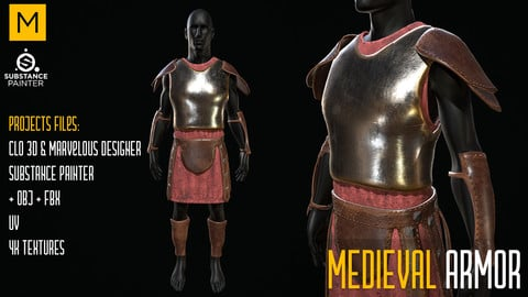 Medieval Armor. CLO 3D & Marvelous & Substance projects. FBX & OBJ. 4K Textures.