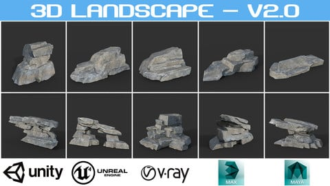 Low poly Big Rock Formation 200928 - Gray