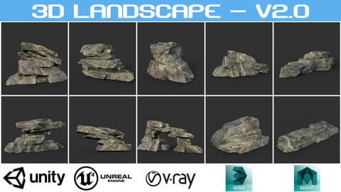 Low poly Big Rock Formation 200928 - Mossy