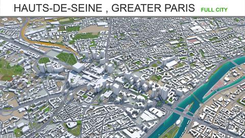 Hauts-de-Seine  city Greater Paris 3d model 50km