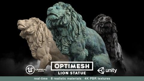 Lion Statue - 3D PBR model Low-poly