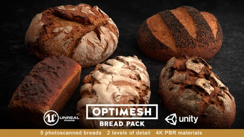 Bread 3D PBR Pack Low-poly