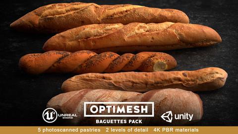 Baguette 3D PBR Pack Low-poly