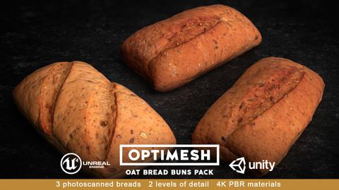 Oat Bread Roll Bun 3D PBR Pack Low-poly