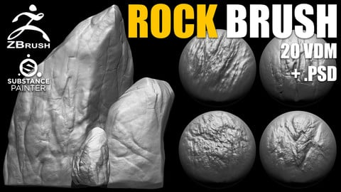 Rock & Stone Brushes for ZBrush (20 VDM + Alphas PSD)