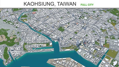 Kaohsiung city Taiwan 3d model 50km