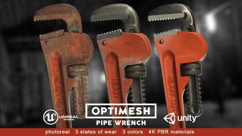 Pipe wrench - 3D PBR model Low-poly 3D model