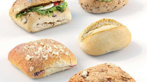 3d bread set, rolls and sandwiches