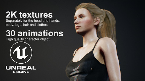 Young Woman for UNREAL 4 with 30 animations.