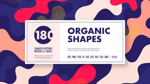 Organic shapes bundle – 180 seamless textures, brushes & design elements