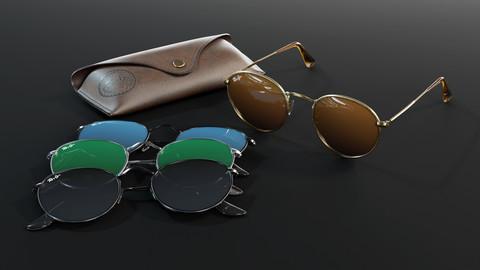 Ray-Ban round Sunglasses 3D model