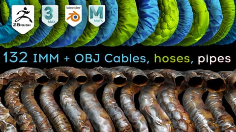 132 Zbrush Cables, hoses, pipes Brushes IMM curve and OBJ Meshes