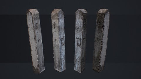 Soviet Concrete Pillar. Low Poly