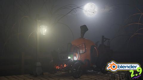 Blender 2.9 3D Model & Render a Stylized Halloween Scene 20 Hour Blender Training