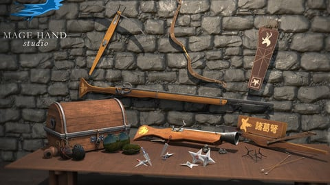 Medieval ranged weapons and throwables pack