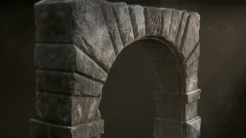 Medieval Fortress Stone Arch Low-poly 3D model