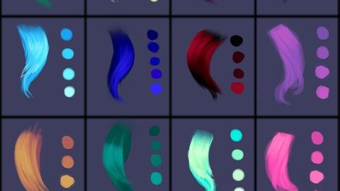 Hair Colors Palette 3 for Clip Studio Paint and Ex