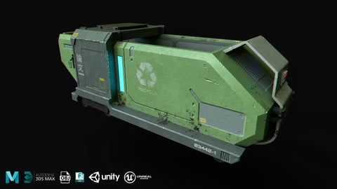 SciFi Container - Real Time/3D Asset/4k Textures/Files(MB, MAX, OBJ, FBX, Unity, UE4)
