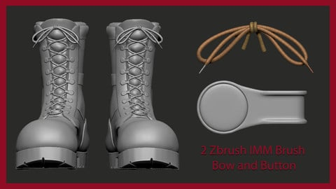 2 Zbrush IMM brush & Maya 3Ds Max, ready material for shoes - Shoelace and Button