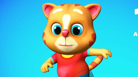 Cat Low poly Animated Rigged