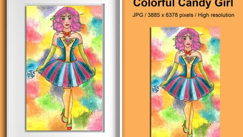 Printable Illustration Colorful Candy Girl