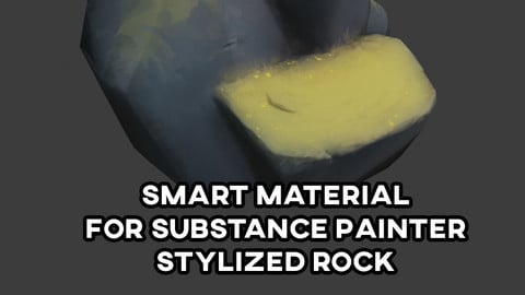 Stylized Rock with Oil effect and Auto-generated grass on top for substance painter