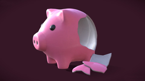 Piggy Bank (whole and broken)