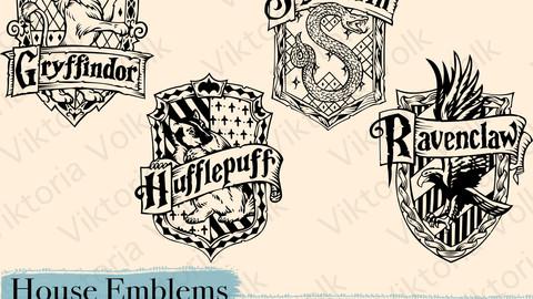 Hogwards Crests - Harry Potter Emblems - Hogwards Houses Logos