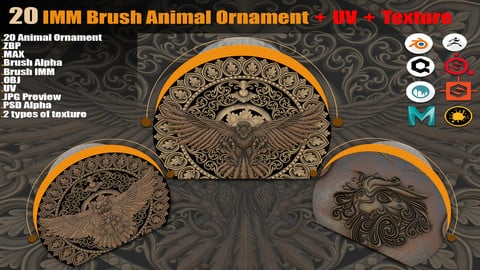 20 IMM Brush Animal Ornament + PBR Texture ( 2 types ) + UV