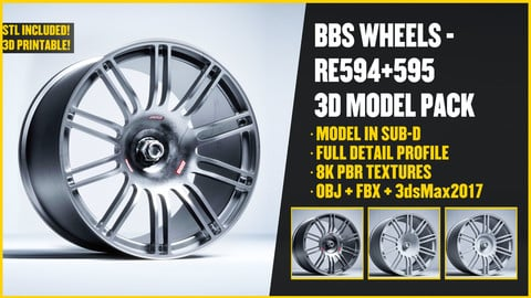 BBS Motorsports wheels - RE594/RE595 3D Model